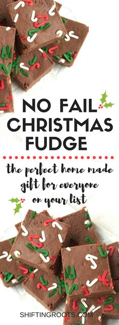 I've tried A LOT of fudge recipes over the years and none of them have really delivered. This recipe is easy, turns out perfect every time, freezes well, and is perfect for giving over the Christmas season. It's the perfect homemade gift for teachers, nei Christmas Fudge, Christmas Goodies, Christmas Candy, Christmas Desserts, Christmas Treats, Christmas Recipes, Holiday Treats, Christmas Time, Holiday Candy