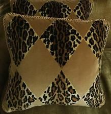 Nancy Corzine Velvet Fabric Custom Designer Throw Pillows Leopard Set of 2 New