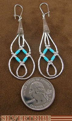 Liquid Silver Blue Turquoise Basket Weave Earrings