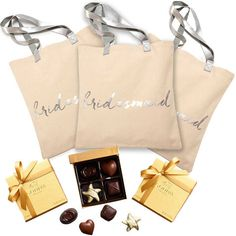 Bridesmaid Tote Bag with Godiva Assorted Chocolate Gold Favors, 4 pc., Set of 3 Summer Wedding Favors, Edible Wedding Favors, Fall Wedding, Wedding Gifts, Bridesmaid Tote Bags, Bridesmaid Gifts, Bridesmaids, Chocolate Gold, Chocolate Gifts
