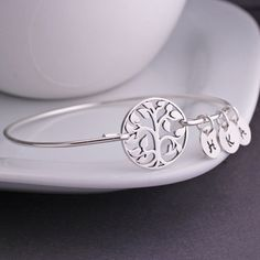 Tree of Life Bracelet, Family Tree Jewelry, Sterling Silver Tree Bangle Bracelet $42