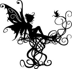 Faeries and dragons Elf Tattoo, Tatoo Art, Elfen Fantasy, Fantasy Art, Kirigami, 3d Templates, Fairy Silhouette, House Silhouette, Fairy Tattoo Designs