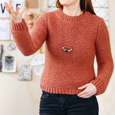 Free pattern to easily knit a sweater in garter stitch - Knitting 01 Sewing Online, Easy Knitting, Garter Stitch, Knit Patterns, Free Pattern, Knit Crochet, Point Mousse, Pullover, Clothes For Women