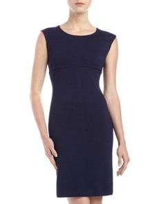 Cap-Sleeve A-line Dress, Ink by St. John at Last Call by Neiman Marcus.