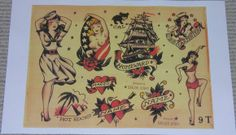 sailor jerry pin-up on the bottom right with a keyhole over her