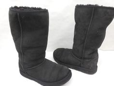 UGG Australia Womens 5229 Original Classic Tall Pull On Black Suede Boots Size 4 #UGGAustralia #SnowBoots #Casual