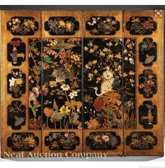 Continental Gilt and Polychrome Painted Embossed Leather Four Panel Screen, 19th/early 20th c