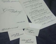 Wedding Menu and Place Cards. Calligraphy by Jagdeep Sahans Wedding Calligraphy, Wedding Menu, Place Cards, Cards Against Humanity, Diy Wedding Calligraphy