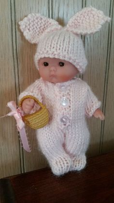 Knit Easter Bunny Suit for 5 inch Berenguer Itty Bitty Baby Dolls #Berenguer