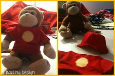 Iron Man costly for Timmy the ThinkGeek Monkey    http://sewingthelostart.blogspot.com/2012/06/timmys-iron-man-costume.html