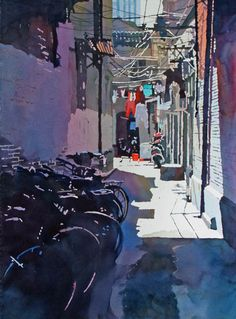 """""""Shanghai Alley"""" by Mark Mehaffey.  I love the suggestion of the row of bicycles and how well it reads.  The red shirt and pail pull the eyes down the alley along wih the perspecitve lines."""