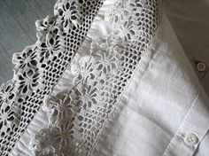 French Antique Linens with crochet lace trim