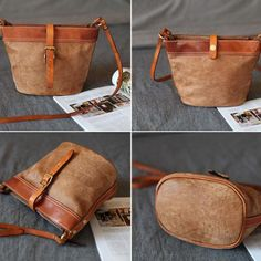 Genuine Leather Handbag Bucket Bag Shoulder Bag Crossbody Bag Purse Clutch For Women Leather Crossbody Bag, Leather Purses, Leather Handbags, Leather Jewelry, Sacs Design, Leather Bags Handmade, Vintage Bags, Retro Vintage, Purses And Handbags