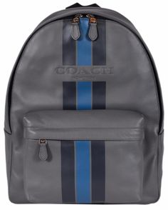 NEW Coach Men's $550 F72237 Grey Blue Leather Varsity Charles Backpack Rucksack #Coach #Backpack