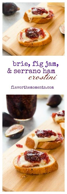 Brie, Fig Jam and Serrano Ham Crostini is a delicious, elegant appetizer that you can put together in mere minutes with only 4 ingredients! Fig Recipes, Snack Recipes, Cooking Recipes, Recipies, Elegant Appetizers, Appetizers For Party, Party Snacks, Appetizer Ideas, Crostini