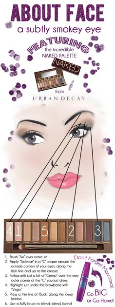 Subtly smokey eye tutorial with Urban Decay's Naked palette....I have to start using these palettes! I have all of them and they cost too much to be in my closet getting old!!