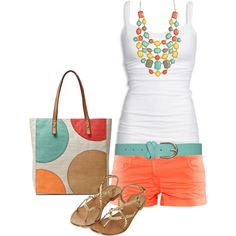 summer outfit- coral shorts with a pop of color in the necklace