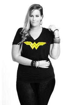 Plus size fashion. Diggin that Wonder Woman shirt. Wondy's my broad.