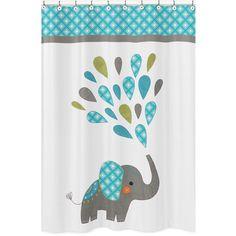 Sweet Jojo Designs Mod Elephant Shower Curtain