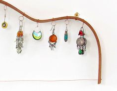 Earrings rack - Mahogany guitar shaped - upcycled eco friendly - made from guitar making scraps