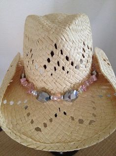 d936f3285ee13 Beautiful beaded hat band with pink and silvertonecrystal beads and  adjustable strap.