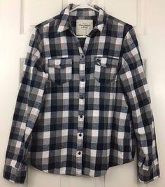 Abercrombie Fitch Cotton Flannel Shirt Long Sleeve Collared Blue Plaid Size L #AbercrombieFitch #Everyday