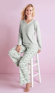 White Orchid™ Women's Microfleece Pyjama Set With V-Neck Pullover Pajama Party, Pajama Set, Canada Shopping, White Orchids, Online Furniture, Wonderland, The Selection, V Neck, Pullover