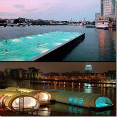 Un concept original made in Berlin: Convertir une ancienne péniche ou un ancien conteneur en une #piscine publique. #allemagne #badeschiff