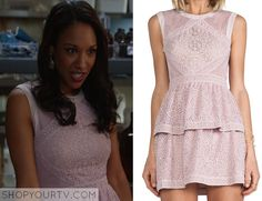 Iris West (Candace Patton) wears this sleeveless pink embroidered peplum dress in this weeks episode of The Flash. It is the BCBGMAXAZRIA Joselyn Sleeveless Peplum Dress. Buy it HERE.