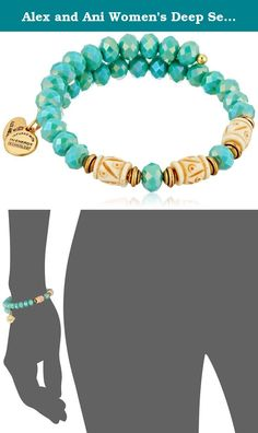 Alex and Ani Women's Deep Sea Wrap Bracelet Marina/Gold One Size. Made in United States. Signature Expandable Bangle crafted in our Rafaelian Gold Finish and adorned with calming tones of green glass beads. Made in USA.