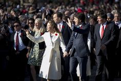 Prime minister-designate Justin Trudeau and his wife Sophie Gregoire-Trudeau lead the new Liberal cabinet to Rideau Hall in Ottawa on Nov. 4, 2015. Bo Limos, they were all on a bus to Rideau Hall grounds and walked the rest of the way!!