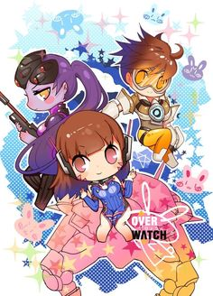 Dwaaa, it's my top 3 fav overwatch characters,(they forgot Mei. Overwatch Drawings, Overwatch Tracer, Overwatch Comic, Overwatch Memes, Soldier 76, Widowmaker, Stuff And Thangs, Cute Chibi, Game Art