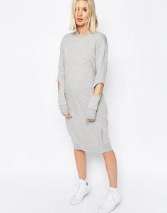 Bild 1 von ASOS WHITE – Mittellanges Pulloverkleid mit Zierausschnitt und Biesen