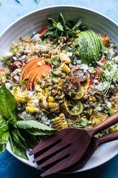 Thai Grilled Corn and Peach Quinoa Salad   http://halfbakedharvest.com /hbharvest/