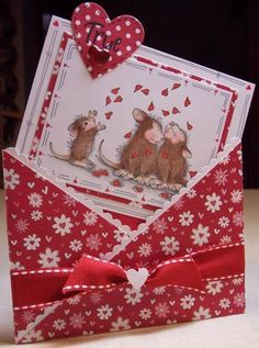 Sweet House Mouse Valentine Card...in decorative envelope. I love these mousies!