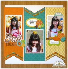 Doodlebug Design Flea Market Fall Pumpkin Patch Scrapbook Layout by Mendi Yoshikawa