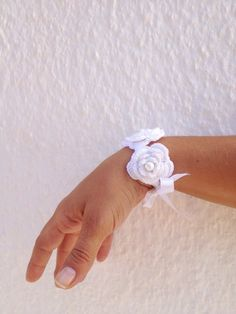 Wedding white crochet  flowered  Bracelet with satin ribbon and bead  ,wriststrap,headband,collar. $15.00, via Etsy.