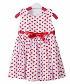 Girl Bowknot Heart Print Skirt Backless Dress Bow Belt Costume