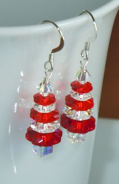 Swarovski Crystal AB and Siam Red Striped Christmas Tree Earrings by BestBuyDesigns