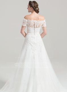 Robe Princesse Hors-la-épaule Traîne moyenne Tulle Dentelle Robe de mariée…