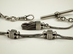 Silver Pocket Watch Chain with Tassel and Chinese Lanterns by BelmontandBellamy on Etsy