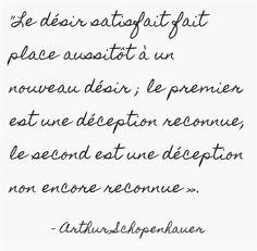 Le désir satisfait fait place aussitôt à un nouveau désir ; le premier est une déception reconnue, le second est une déception non encore reconnue».