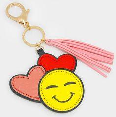 Sale Emoji Keychain With Faux Suede Tassel Charm by Go2KnitHats