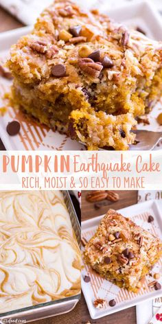 This Easy Pumpkin Earthquake Cake is one of the best fall dessert recipes! Doctored up cake mix is swirled with a cream cheese filling, making a rich, gooey pumpkin cake that's 100% over-the-top and downright delicious. It\'s an easy pumpkin cake with butterscotch chips, chocolate chips, pecans and coconut! #cake #dessert #pumpkin #fall #recipe