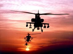 Apache Helicopters at sunset.