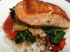 Salmon with wilted spinach, mushroom and red pepper over jasmine rice with a spicy honey soy glaze