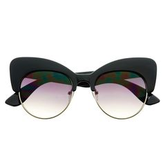 Designer inspired cat eye sunglasses feature large half frame. Cool and unique fashion look! Sunglasses dimensions: Frame Height: 55mm Frame Width: 140mm