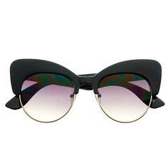 45496d6f772 Cool Unique Designer Fashion Large Half Frame Cat Eye Sunglasses C1210