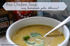 Easy homemade thai chicken soup: this recipe is so easy to make, is paleo and #whole30-approved, kid-friendly and totally delicious. Plus the broth makes it great for fighting off cold and flu germs. Give it a try!  It's a family favorite.  #recipe #paleo #whole30