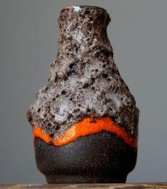 Vintage 60-70's STREHLA Orange Fat Lava Vase East German Pottery GDR Art Craft #Vases